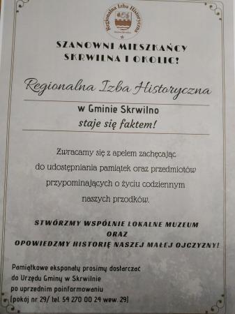 Regionalna Izba Historyczna w Gminie Skrwilno staje się faktem !