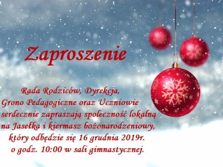 Zaproszenie na Jasełka i kiermasz bożonarodzeniowy